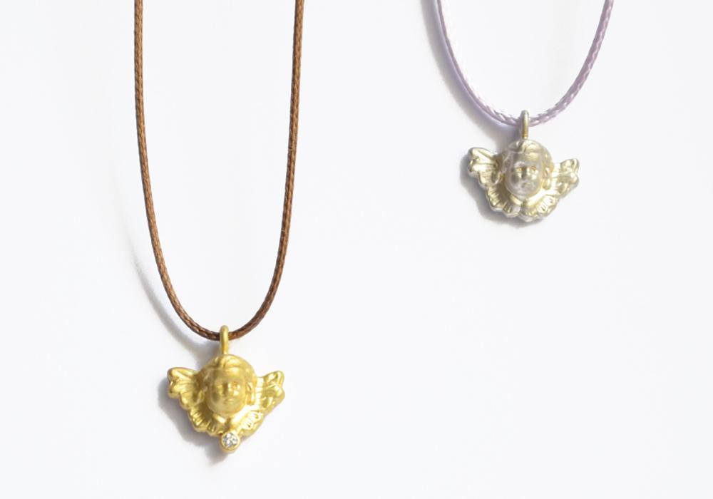 Schutzengel aus Silber & Gold, Bandfarben: camel & Flieder